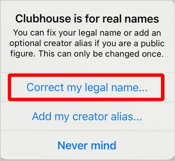 Clubhouse Correct my legal name